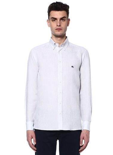 Etro Uzun Kollu Keten Gömlek Gri